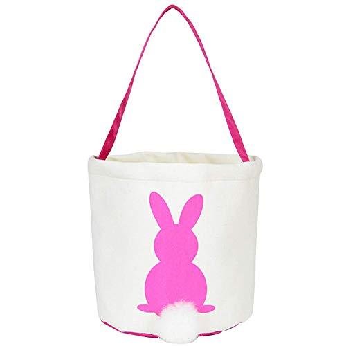 AAVBR Handtasche Bunny Tote Leinwand Korb Party Supplies Schwanz Kinder Candy Hase Süß Wiederverwendbar Geburtstag Dekoration Oster Tasche Lila - Rosa, Free Size