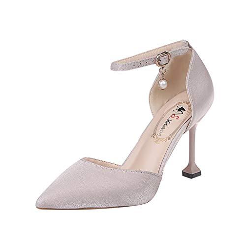 Dasongff Pumps Sandalen Spitze Zehen High Heels Pumps Satin Riemchen Abendschuhe Brautschuhe Elegant