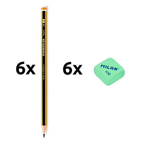 Staedtler 6Bleistifte 2HB 2und 6Radiergummis Milan 430