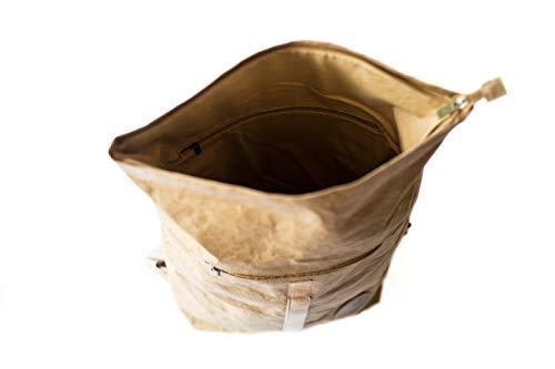 PAPERO ® Rucksack aus Kraft- Papier | Ultra minimalistisch Herren Damen, Robust, Wasserfest Vegan fair nachhaltig Urban Style FSC Zertifiziert | Kurier Taschen, Rolltop Laptop Farbe:Hellbraun - 5