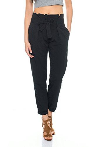 Kendindza Damen Premium feine Chino Büro Anzug Hose High Waist Schleife (L (38/40), Schwarz) (Abnehmen Seite Zip-hose)