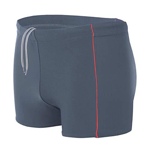 Aquarti Bañador para Hombre Tipo Boxer, Color: Grafito/Rojo, Größe: 7XL Cintura c. 141 cm