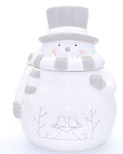 Exner Große Schneemann Keksdose Gebäckdose aus Keramik 17,5cm x 17cm x H 24,5 cm (Grau Weiß)