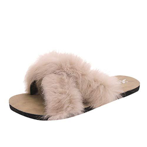 Pingtr - Damen Hausschuhe,Hausschuhe Herbst Freizeitschuhe weibliche Flache Unterseite Slip Open Toe weibliche Sandalen