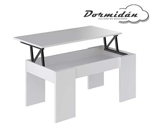 Dormidán- Mesa de Centro elevable, Comedor o Auxiliar, Mayor Grosor y Estabilidad (Blanco/Blanco)