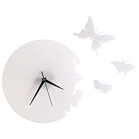 Samtlan - 3D Acrylic Butterfly Quartz Wall Clock / Creative Wall Stickers Hanging Watch / Living Room Dial Digital Home Decoration(White,Size