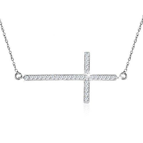 OrdoŠ diamonds collana realizzata in argento 925, croce in zircone, collana da donna, argento 925, zirconi chiari, rotondi, ciondolo brillante, punzonatura, 3.8g