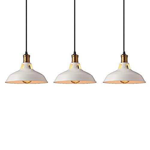 ZSSM Pendelleuchte Scheune Industrie Metall Kronleuchter Öl eingerieben Bronze Finish Lampen Leuchten E27 Basis für Kücheninsel rustikale Decke hängende Lichter (3er Pack),White -