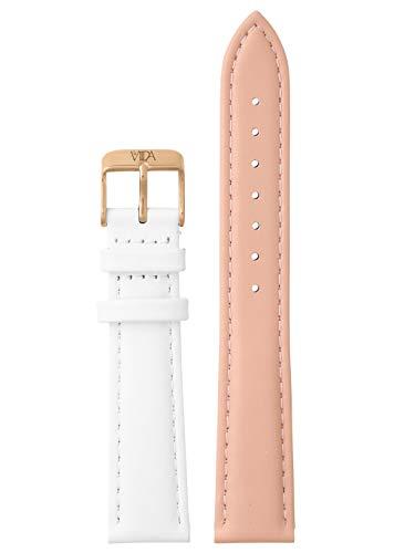 laVIIDA Uhrband LB-SVI2026R Ersatzband Uhrenarmband Leder 18 mm Rosa-Weiß-Rosé