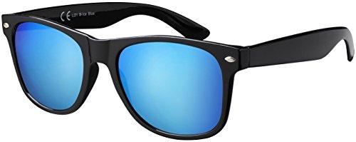 Original La Optica UV400 Unisex Sonnenbrille - Farben, Einzel-/Doppelpacks, Verspiegelt (Einzelpack Glänzend Schwarz (Gläser: Helblau verspiegelt))