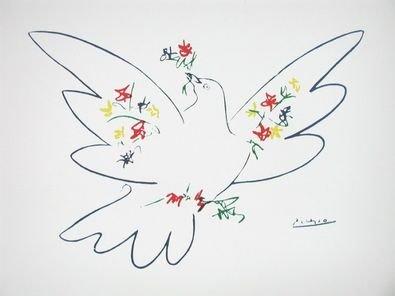 Pablo Picasso Taube mit Blumen Poster Bild Kunstdruck 56x71,2cm