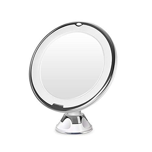 MALFI Kosmetikspiegel LED beleuchtet 10-Fach Vergrößerung, mit Saugnapf, 360 Grad dreh/schwenkbar Make-up Spiegel Schminkspiegel - Make-up-spiegel Wand Beleuchtete