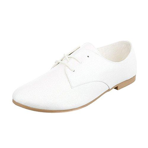 Ital-Design Schnürer Damen-Schuhe Oxford Blockabsatz Blockabsatz Schnürsenkel Halbschuhe Weiß, Gr 40, Hs21-