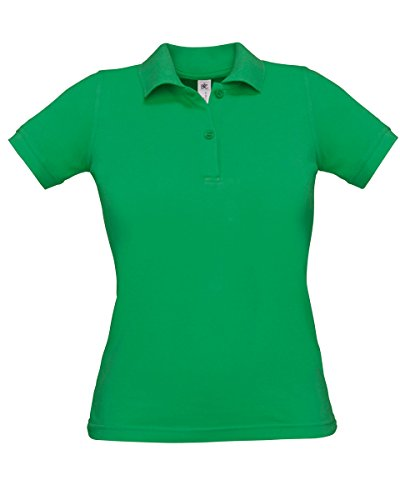 B & C Safran Pur Mesdames S/S Polo Vert - Vert vif