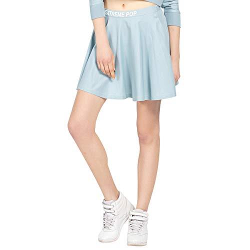 Damen Kurze Röcke Elastische Taille Sport Kleid Mädchen Tennis Rock Vielseitig Stretchy Ausgestelltes Jersey Shorts Lässige Skater Rock Grau Blau und Schwarz (L, Grau Blau)
