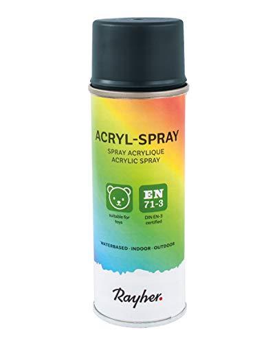 Rayher Hobby 34145572 Acryl-Spray, Acryllack, seidenmatt, Sprühlack für innen und außen, hohe Deckkraft, umweltbewusst spraylackieren, Dose 200 ml, anthrazit