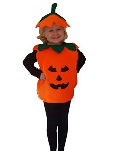 AN01 Kürbis Kostüm Größe 98-104 für Halloween, Halloweenkostüm mit Kopfschmuck
