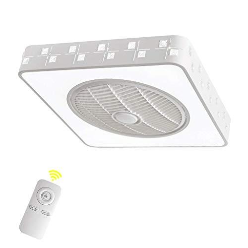 HYKISS Deckenventilator Licht einfache Kinderzimmer Wohnzimmer Deckenleuchte mit Ventilator Quadrat Fernbedienung DREI Farben, 55 * 55cm -