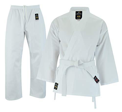 Malino Studente Leggero Karate Gi Tuta Bianco Uniforme per Bambini PC 6oz Cintura Libera Taglia 100