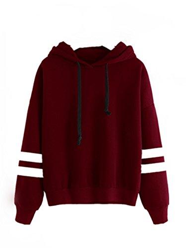 LHWY Damen Long Sleeve Hoodie Sweatshirt Pullover Kapuzen Pullover Tops Bluse (S, Rot)