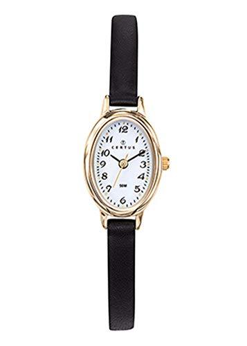 Certus–Reloj Mujer–h646m234–Pulsera Cuero Negro–Caja Acero Dorado–Reloj Color Blanco
