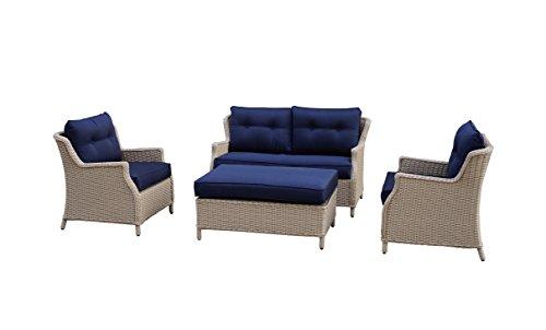 Büloo Polyrattan Gartenmöbel Lounge Set Sitzgruppe mit 2-Sitzer-Sofa oder 3-Sitzer-Sofa, Farbe in helles beige oder braun, aus Aluminium, fertig montiert (2-Sitzer-Sofa, beige/dunkelblau)