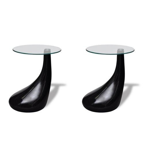 vidaXL 2 x Design Couchtisch LOUNGE TEAR schwarz Beistelltisch Glastisch 240323 (42 Couchtisch)