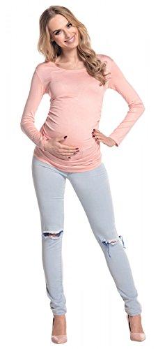 Happy Mama. Femme. Maternité jolie top t-shirt. Haut grossesse tunique. 947p Abricot