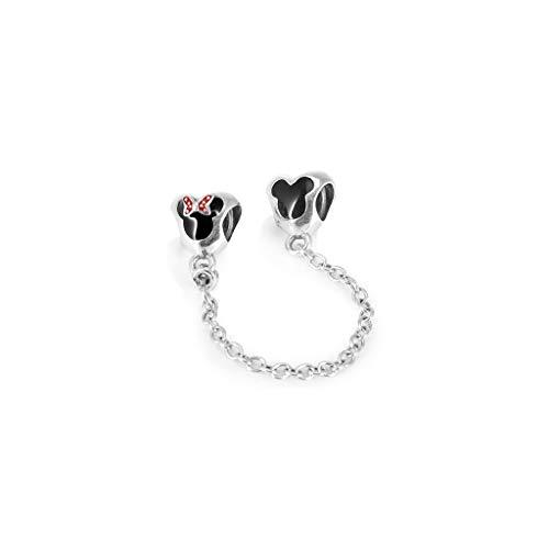 Ciondolo con catena Disney di Minnie e Mickey Mouse in argento Sterling smaltato