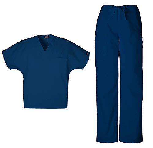 Cherokee Mens Workwear Scrub Set Medical/Dentist Uniform V-Neck Top & Cargo Pant -