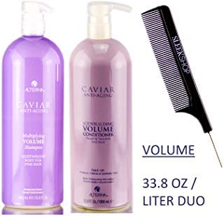 Caviar By Henkel Alterna Caviar Anti-Aging Multipliziert Volume Shampoo & Conditioner Duo Set (Stylist Kit) Leichtbau-Karosserie für feines Haar (33,8 oz / 1000 ml Duo Kit mit Pumpen) Volumizing -
