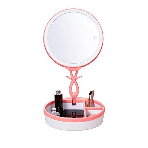Miroir de maquillage XIAHE Maquillage Miroir Lampe De Table LED Pliable De Bureau avec Boîte De Rangement Cadeau Cadeau Maquillage Miroir Miroir Pliant Multifonctionnel (Edition : Pink Touch)