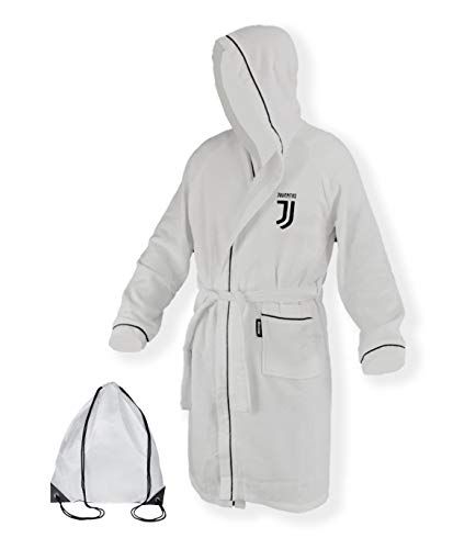Tex Family Albornoz adulto Original Juve Juventus de microfibra blanco y negro con Mochila piscina-XL...