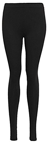 Womens New Plain Stretch Ladies Full Long Length Skinny Elasticated Waist Trousers Pants Leggings Black Size 16 - 18