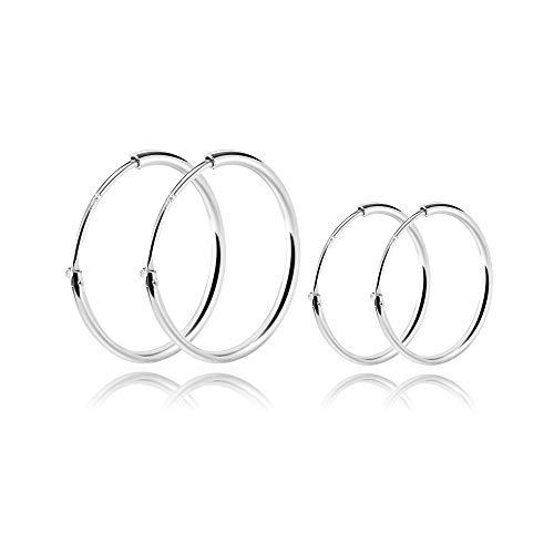 SOSMAR - Creolen silber für Damen Herren aus echt 925 Sterling Silber, kleine Creolen Hoop Ohrringe für Damen Mädchen Jungen - 20mm + 14mm