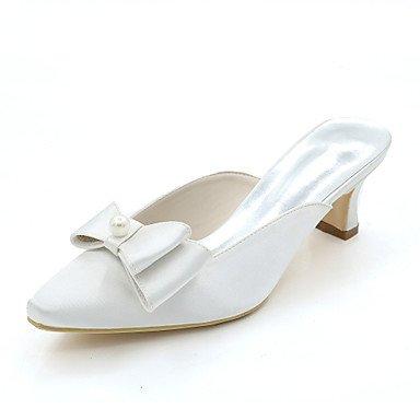 Wuyulunbi@ Scarpe donna raso Primavera Estate della pompa base scarpe matrimonio Square Toe Bowknot imitazione perla per il party di nozze & sera un Champagne Bianco