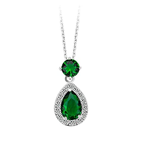 Beydodo White Gold Plating Necklaces for Women(Pendant Necklace),Prongs CZ Round & Pear Oval Link