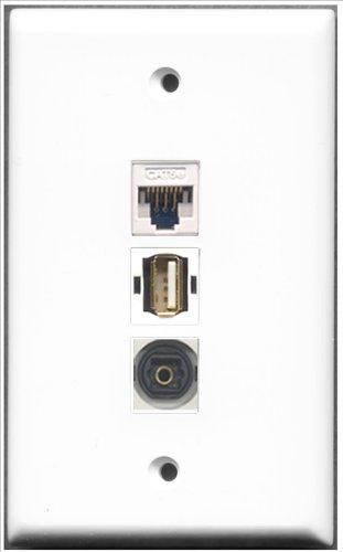 RiteAV-1Port USB A-A + 1Port Toslink und 1Port Cat-5e Ethernet White Wall Plate -