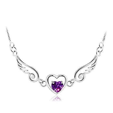 Saint-Valentin Cadeau, Angelof Femmes Collier De Pendentifs Coeur Femmes Aile D'Ange