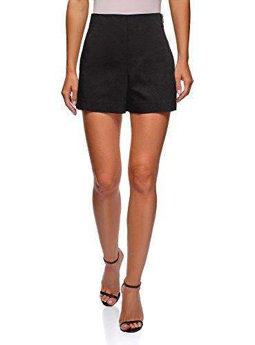 oodji Ultra Damen A-Linie-Shorts mit Seitlichem Reißverschluss, Schwarz, DE 34 / EU 36 / XS