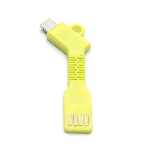 aricona N°477 Cable Adaptador USB Micro-B a Conector USB PowerBank como Llavero, Alternativa Flexible y compacta al Cargador, Größe:Apple;Farbe:Amarillo