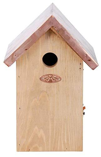 Esschert Design Nistkasten, Vogelhaus Blaumeise in braun mit Kupferdach, ca. 17 cm x 14 cm x 26 cm