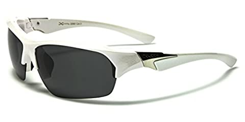 Xloop Spencer Polarised Mens Ladies Designer Sports Sunglasses with Polar Eyes microfibre pouch - Full UV400 protection (White frame with smoke
