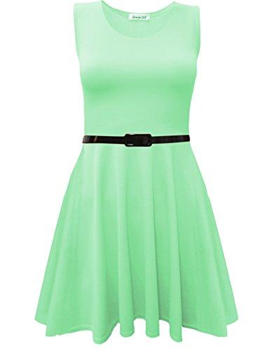 Damen Ärmellos Ausgestellt Franki Party Damen Plus Größe Skater Top Kleid 16–26 Apfelgrün