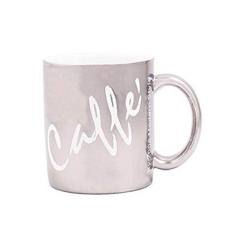 Kaffeetassen Kaffeetasse Kaffeebecher Keramiktasse Becher Paar Tasse Frühstückstasse Großraumbüro Haushalt Silber Tasse Weiß Wort 350ML