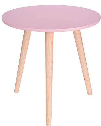 Holz Beistelltisch rosa - 40x39 cm - Deko Tisch klein Couchtisch Sofatisch rund