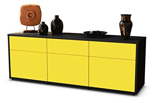 TV Schrank Lowboard Angela, Korpus in anthrazit matt / Front im exklusiven Sonnengelb (135x49x35cm), mit Push to Open Technik und hochwertigen Leichtlaufschienen, Made in Germany