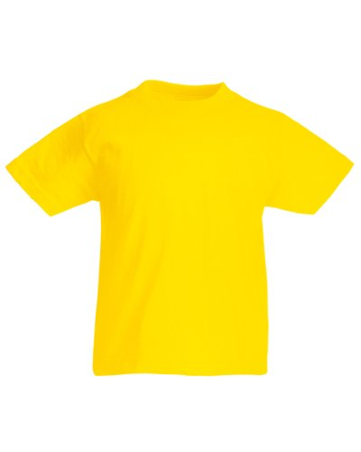 Fruit of the Loom Childrens/Kids Unisex Valueweight Short Sleeve T-Shirt (5-6) (Yellow)