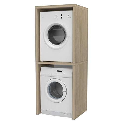 Ve.Ca. Mobile colonna Coprilavatrice, in legno, copri lavatrice/asciugatrice, diversi colori, anche su misura, lavanderia arredo bagno (Rovere rock)