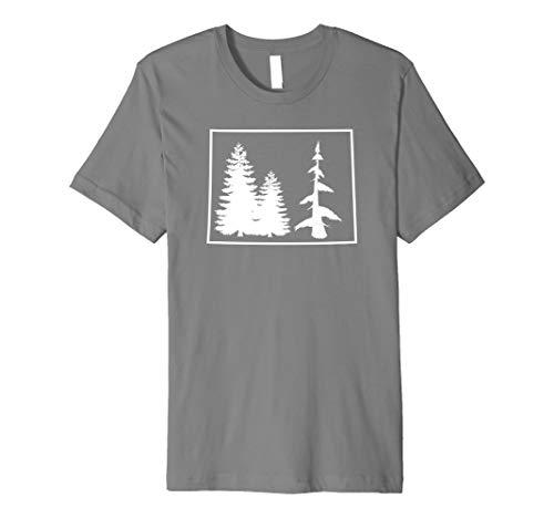 Colorado State Outline Blue Spruce Pine Tree Trendy T-Shirt (Tree Spruce Blue Colorado)